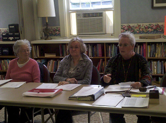 Estelle Wall (Left) Corresponding Secretary Ruth Cook  (Middle) Recording Secretary Suzanne Waltz (Right) President