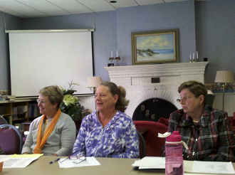Carolyn Ziehm (Left) Travel Co-Chair Barbara Hallenbeck (Middle) new member Lynne Nisoff (Right) Development VP etc.